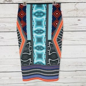 Bisou Bisou Skirt Pencil Patched Tribal Stretch